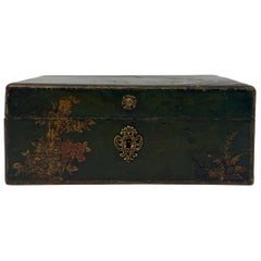 Antique Chinoiserie Painted Wood Jewel Box, circa 1880