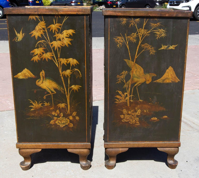 European Antique Chinoiserie Side Cabinet Tables, a Pair For Sale