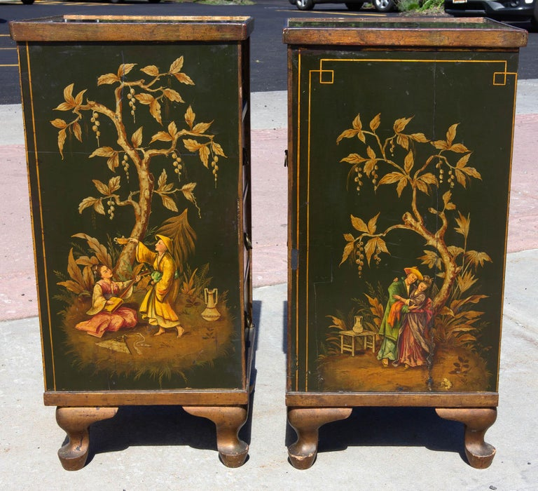 Hand-Painted Antique Chinoiserie Side Cabinet Tables, a Pair For Sale