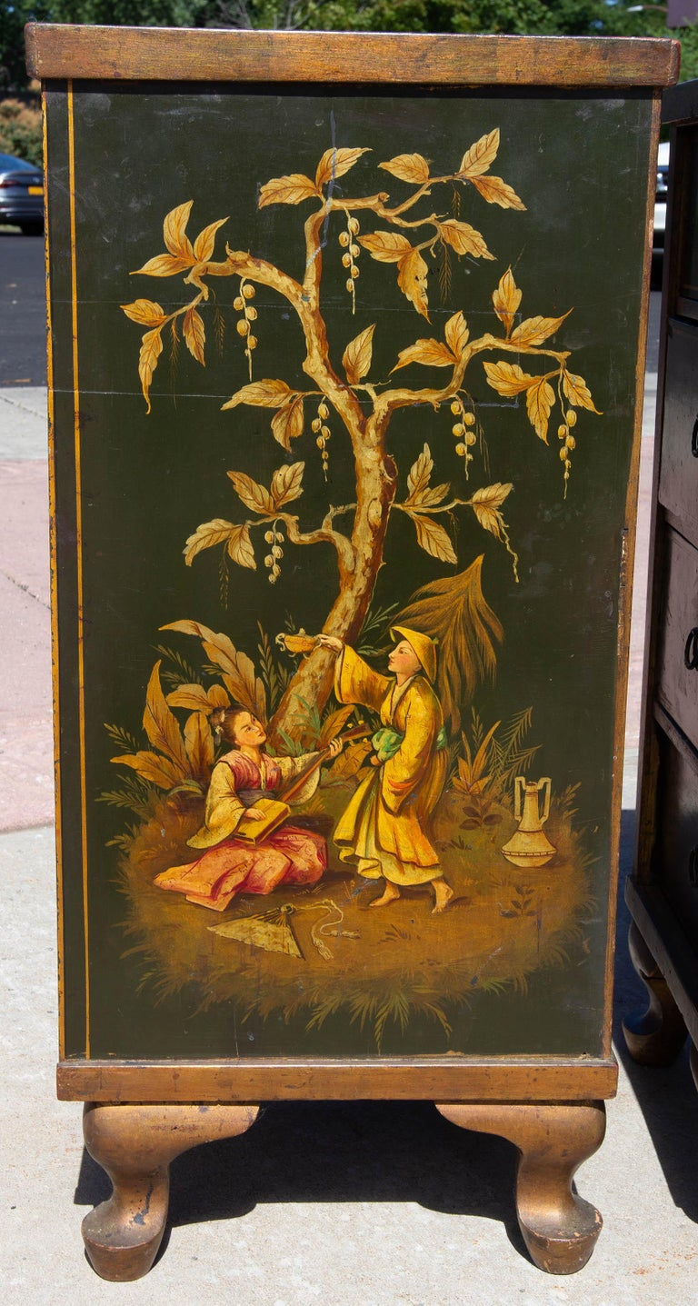 Antique Chinoiserie Side Cabinet Tables, a Pair In Good Condition For Sale In Rochester, NY