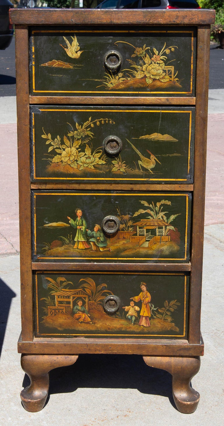 19th Century Antique Chinoiserie Side Cabinet Tables, a Pair For Sale