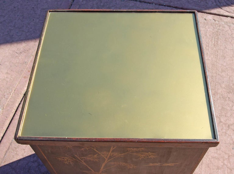 Lacquer Antique Chinoiserie Side Cabinet Tables, a Pair For Sale