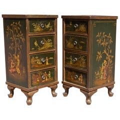 Antique Chinoiserie Side Cabinet Tables, a Pair