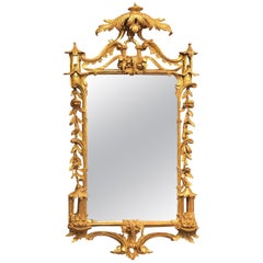 Antique Chinoiserie Style Gilded Carved Wood Mirror, circa 1920-1930