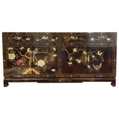 Antique Chinoiserie Style Wooden Buffet or Cabinet Hand-Painted Scenes