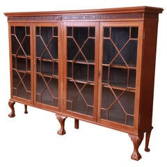 Antique Chippendale Carved Mahogany Double Bookcase
