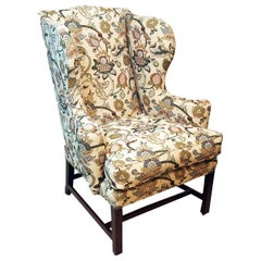 Antique Chippendale Period Mahogany Wing Armchair