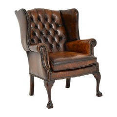 Antique Chippendale Style Leather Wing Back Armchair