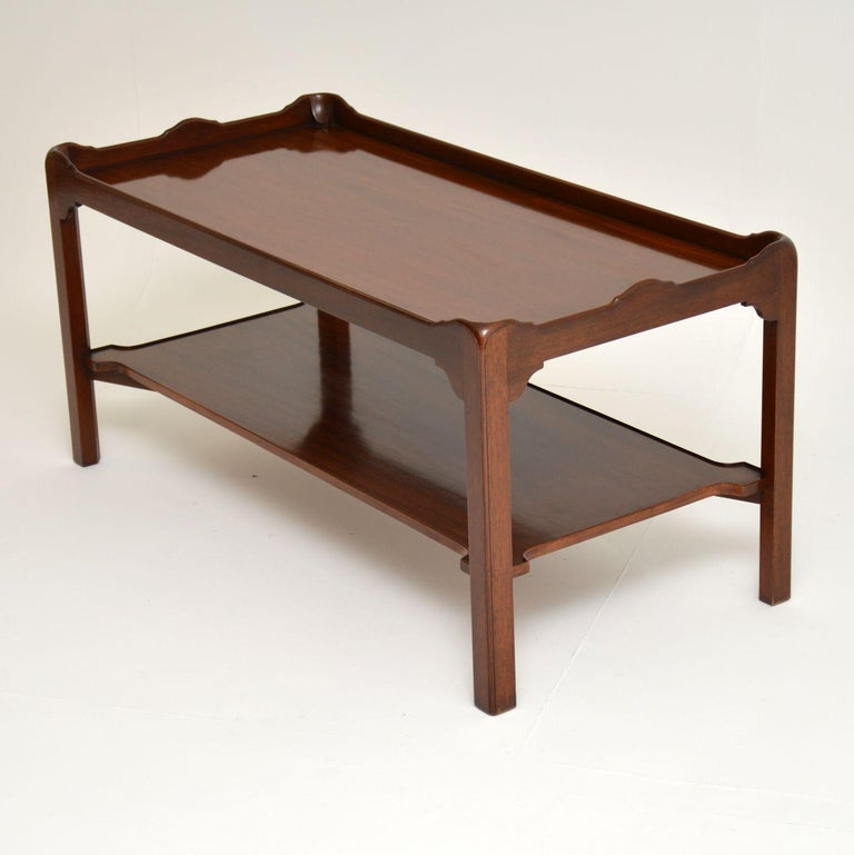 English Antique Chippendale Style Mahogany Coffee Table