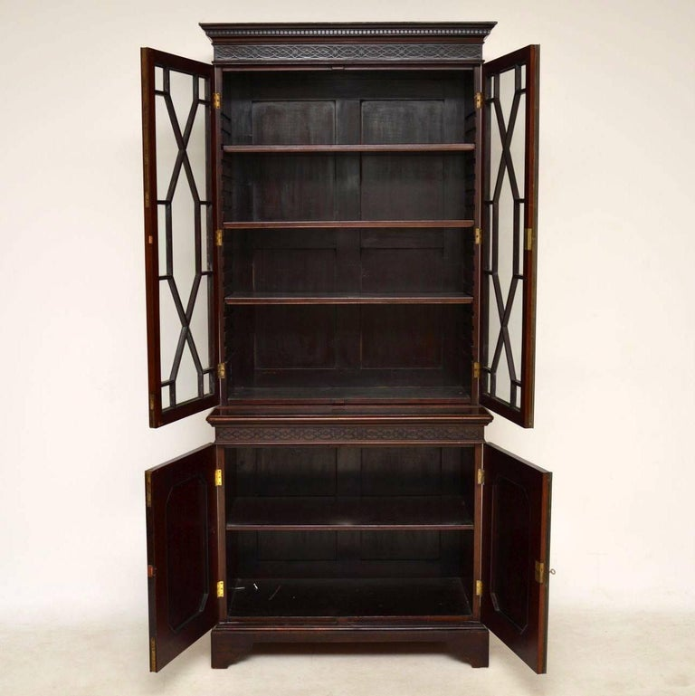 Mahogany Home Library Office: Antique Chippendale Style Mahogany Library Bookcase For