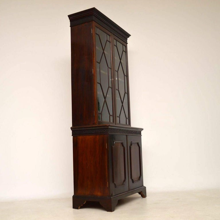 Antique Chippendale Style Mahogany Library Bookcase For