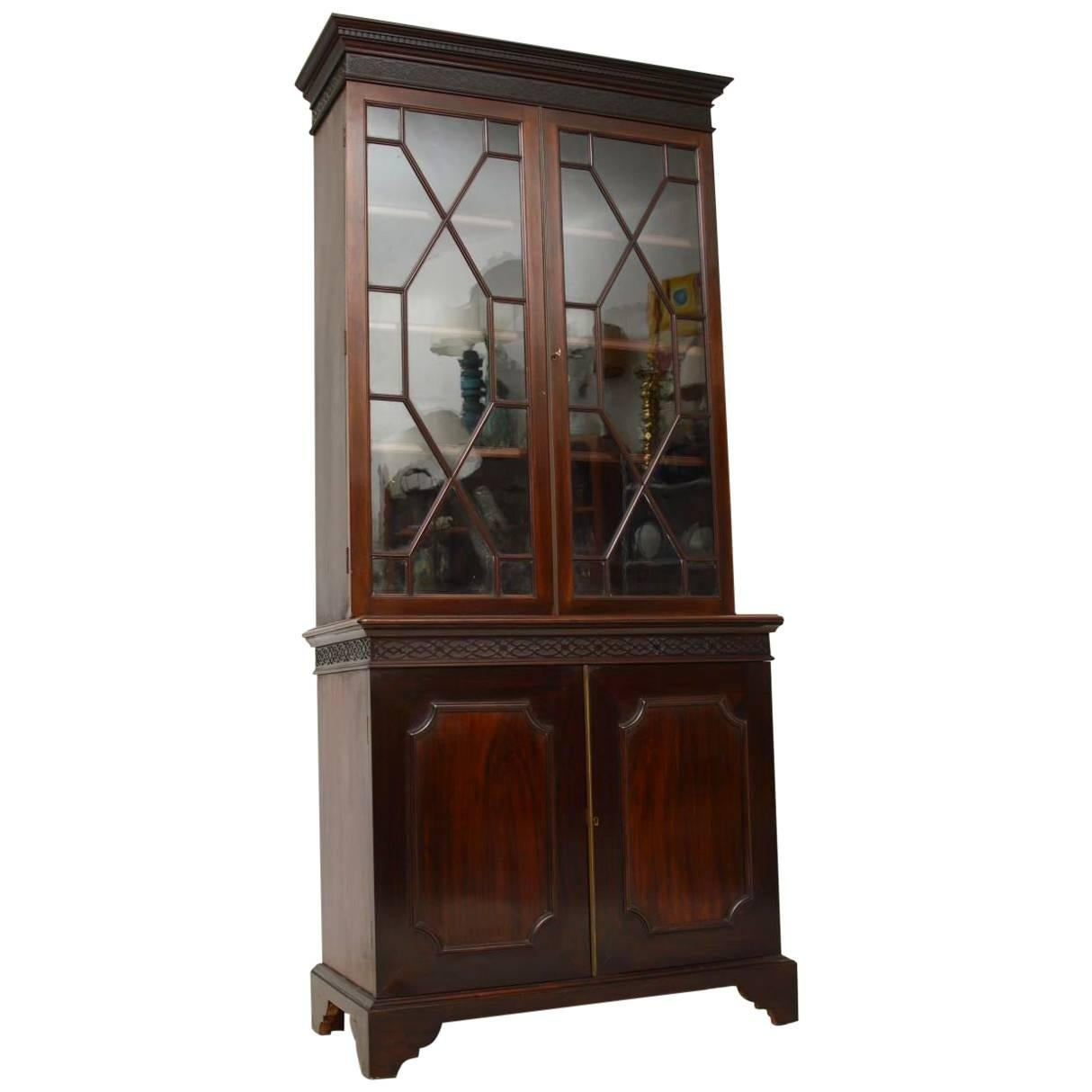 Antiques Stunning Mahogany Chippendale Style Astral Glazed Display Cabinet