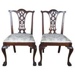 Antique Chippendale Style Ribbon Back Dining Chairs Ball and Claw Side Accent