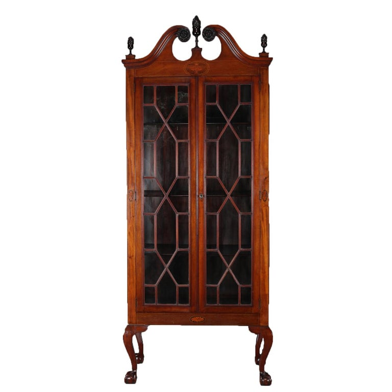 Antique Chippendale Style Satinwood Inlaid Mahogany China Display