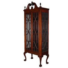 Antique Chippendale Style Satinwood Inlaid Mahogany China Display Cabinet