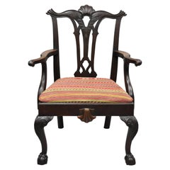 Antique Chippendale Style Shell Carved Mahogany Ball and Claw Dining Armchair