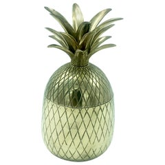 Antique Chiseled Brass and Gilt Pineapple Box Caddy, 1970