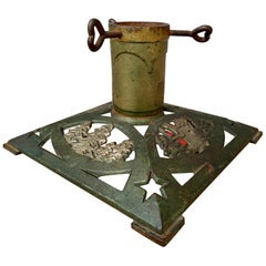 Antique Christmas Tree Stand in Original Painted Cast Iron, circa 1900