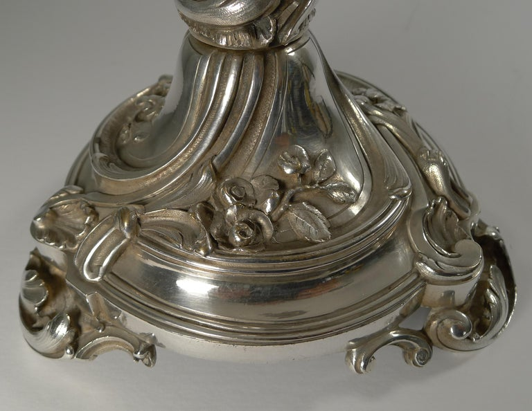A fabulous early piece of antique Christofle dating to circa 1900. The hefty piece is made from silvered bronze fully marked on the side.  The cut crystal is unsigned but I am certain it is Baccarat which it usually was when paired with Christofle