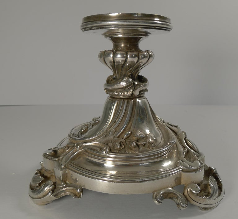 Edwardian Antique Christofle et Cie Silvered Bronze and Crystal Centrepiece, circa 1900 For Sale