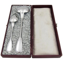 Antique Christofle Large Serving Spoon and Ladle in Original Box