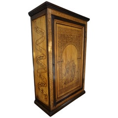 Antique Church Wall Cabinet w. Biblical Pokerwork Scene of Mary & Bible Text