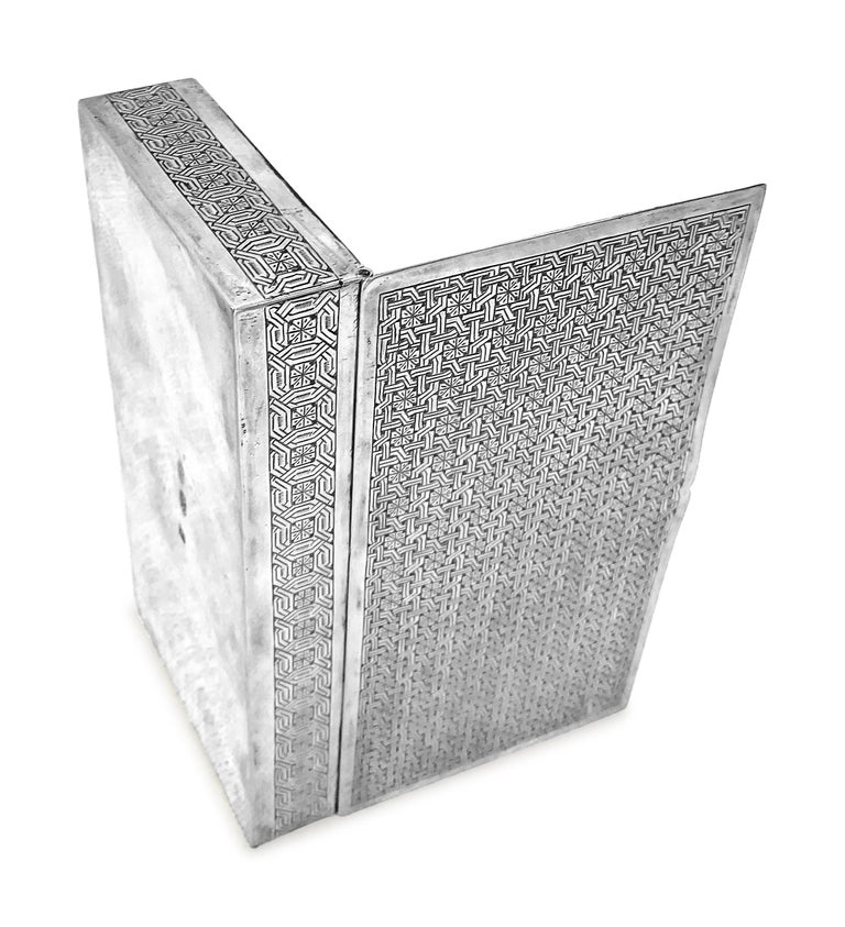Antique Cigarette Box Rectangle In Silver  In Fair Condition For Sale In Jackson Heights, NY