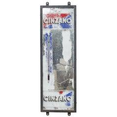 Antique Cinzano Mirror Advertisement with Thermometer, circa 1930