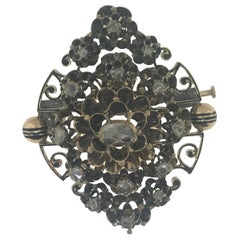 Antique circa 1600  1/2 Carat Rose Cut Diamond Brooch, Rare Rose Cut Diamonds
