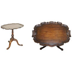 Antique circa 1840 Mahogany Carved Tripod Tilt-Top Side Table Claw and Ball Feet