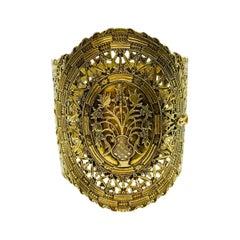Antique circa 1850s 14 Karat Yellow Gold Filigree Cuff Bracelet