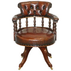 Antique circa 1860 Fully Restored Deep Cigar Brown Leather Swivel Captains Chair