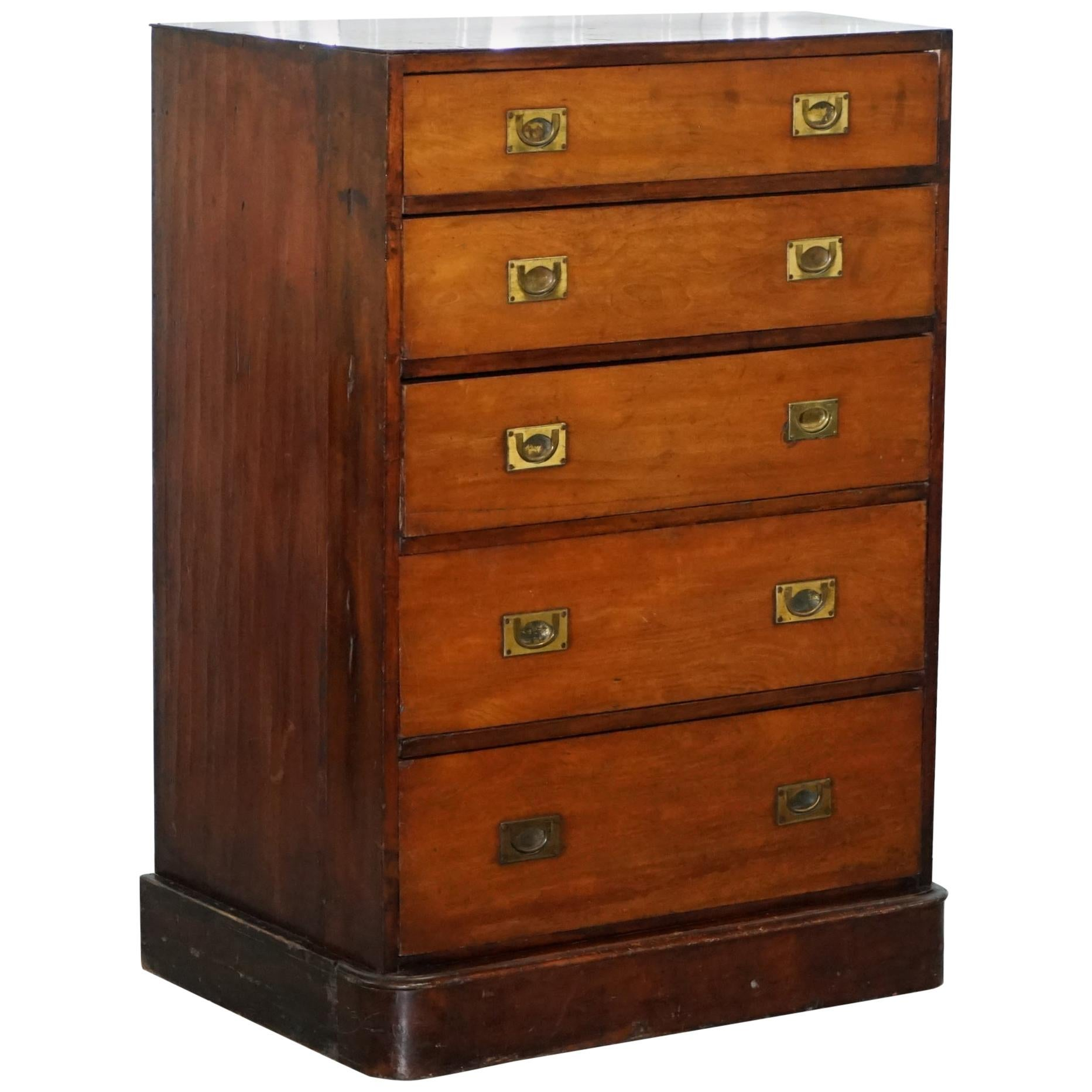 Antique Tall Hardwood Military Campaign Chest of Drawers, circa 1860