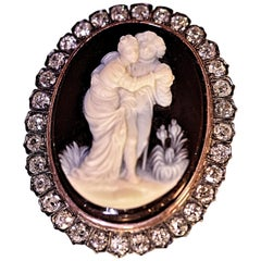 Antique Circa 18th Century Agate Cameo Mine Cut Diamonds Sterling
