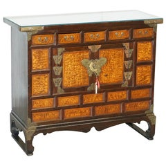Antique circa 1900 Chinese Export Burr Elm & Brass Engraved Sideboard Butterfly