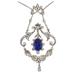 Antique circa 1905, Certified Untreated No Heat 8.7 Carat Sapphire Necklace
