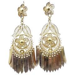 Antique, circa 1910, 17 Carat Yellow Gold Fancy Cut Tassel Drop Earrings