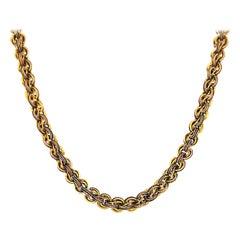 Antique circa 1910 Custom Link Chain Gold Choker Necklace Yellow Gold Choker