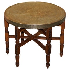 Antique circa 1920-1940 Persian Moroccan Brass Topped Folding Occasional Table