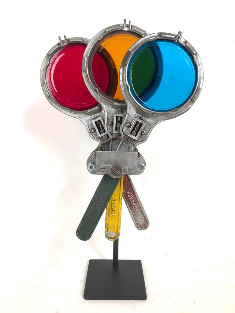 Antique circa 1930s New York City subway directional semaphore with original colored glass lenses. Can be maneuvered several ways. Mounted on a custom made steel stand.