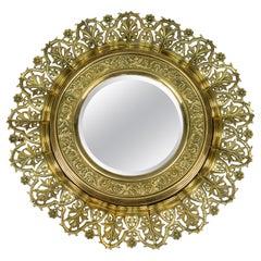 Antique Circular Bronze and Brass Mirror in Sunburst Shape, Early 20th Century