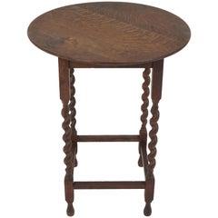 Antique Circular Tiger Oak Barley Twist Lamp/End Table, Scotland 1920, B1921