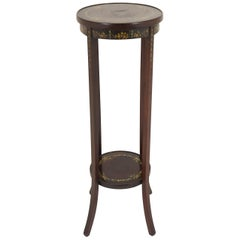 Antique Circular Walnut Two-Tier Hand Painted Plant Stand, Scotland 1920, B2046