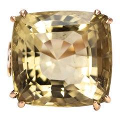 Antique Citrine and 9 Carat Gold Bishops Ring