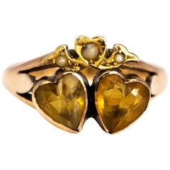 Antique Citrine and 9 Carat Gold Double Heart Ring