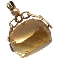 Antique Citrine and 9 Carat Gold Swivel Fob