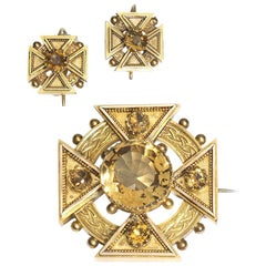 Antique Citrine Maltese Cross Brooch and Earrings Suite, circa 1875