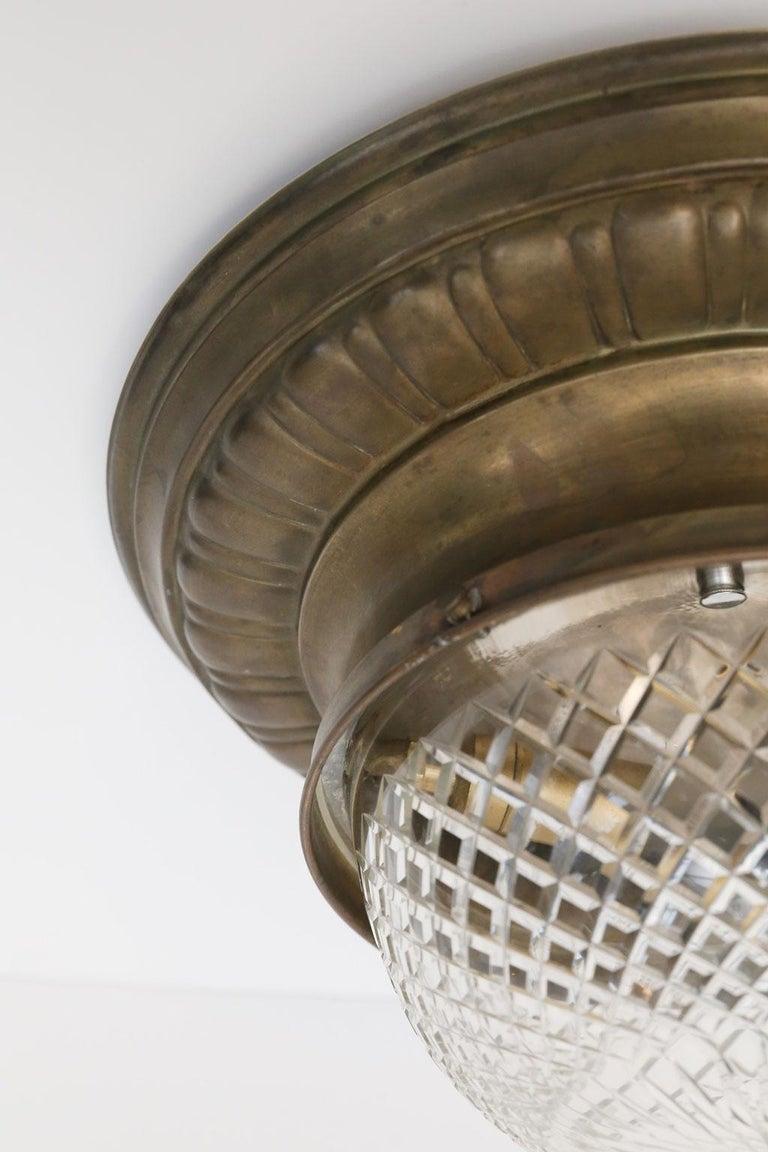 Neoclassical Revival Antique Classic French Repoussé Flush Mount Light For Sale