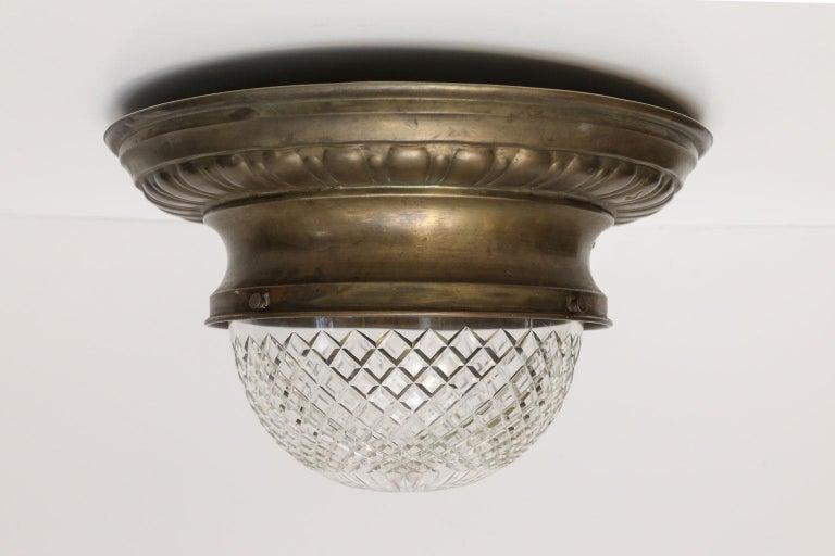 Late 19th Century Antique Classic French Repoussé Flush Mount Light For Sale