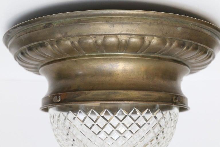 Cut Glass Antique Classic French Repoussé Flush Mount Light For Sale
